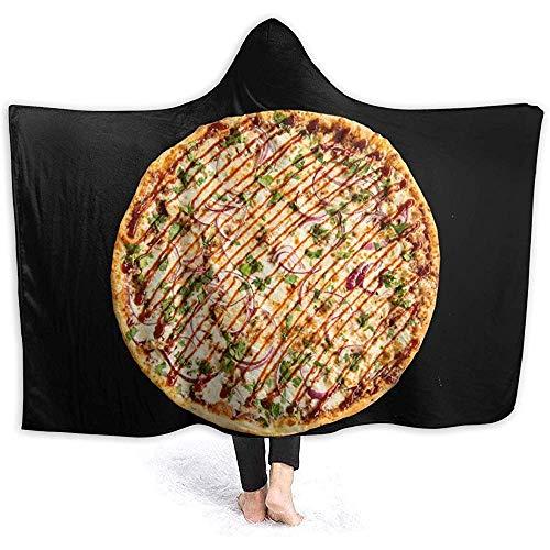 Hirkeld Chicken Pizza Hooded Blanket Luxuriöse Wickeldecke aus Samt Superweiche, kuschelige, warme Decke für EIN Nickerchen Poncho