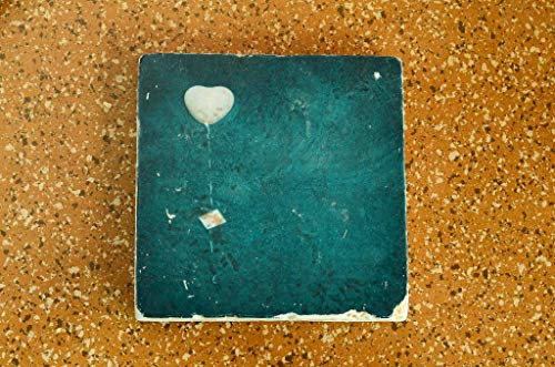 Herz Untersetzer aus Travertin Stein Fliese türkis, handmade coaster