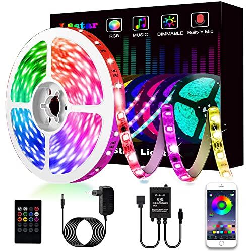 Luces Led, L8star 5m Smart Tiras de Luces Led Rgb 5050 Control APP, Luces Led Habitacion con Controlador Bluetooth Sincronizar, con Música Solicitar TV Dormitorio (5M)