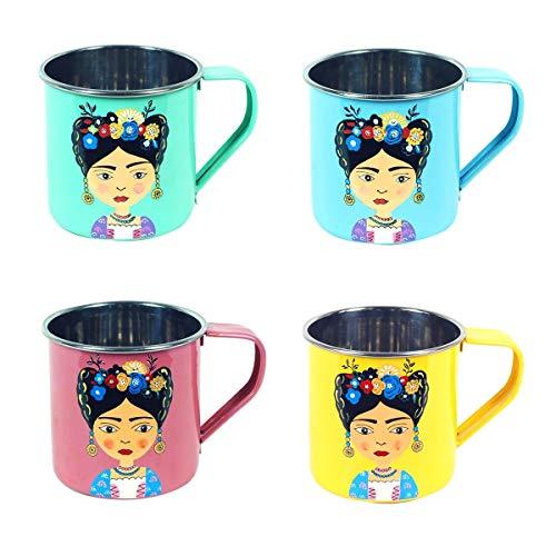 Decor and Go Mug 4 Colores Acero Inox Frid Incluye set de 4 Unidades Mugs Y Vasos Cocina Colección India DG19493