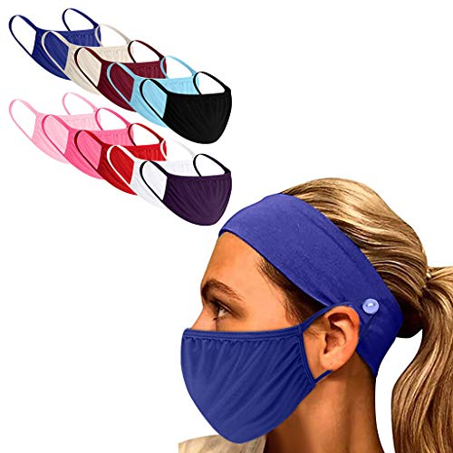MORRAN 1PC Sport Anti-hairband And 10PCS Anti Dust Colorful Cloth Bandnas Scarf for Man and Women