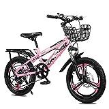 Axdwfd Infantiles Bicicletas 18/20 Pulgadas, Marco De Alta Fibra De Carbono para Bicicletas De Niños Y Niñas, Bicicletas De Absorción De Golpes, Adecuadas para 7-14 Años De Edad(Size:20in,Color:Rosa)