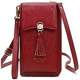 Pearl Angeli Cartera de Cuero Real Suave para Celular Monedero para Mujer Monedero para Mujer Bolso para teléfono con Bloqueo RFID Crossbody (Rojo)