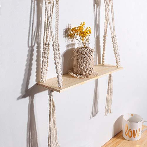 Hrpa Hanging Shelves,Cute 1 Tier Cotton Rope Floating Shelf Small Plants, Boho Home Decor for Bedroom,Living Room, Bathroom