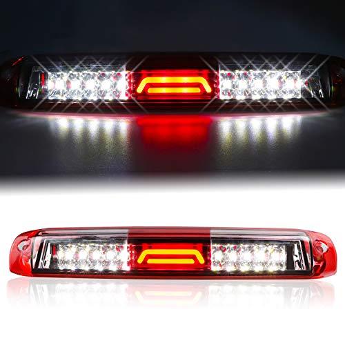 for 99-07 Chevrolet (Chevy) Silverado GMC Sierra 1500 2500 3500 HD Classic, LED Third 3rd Brake Light Rear Cargo Lamp High Mount Stop light Chrome Housing (Red)