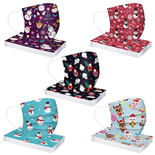 50Pcs Christmas Disposable_Face_Mäsks with a Box for Adult,Multiple Pattern Combinations 3-ply Face Protection Pads for Party,High Filtration and Ventilation (B)