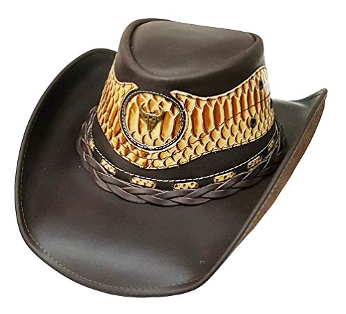 Modestone Unisex Cowboy Leather Hat Leather Snake Skin Pattern Applique Brown