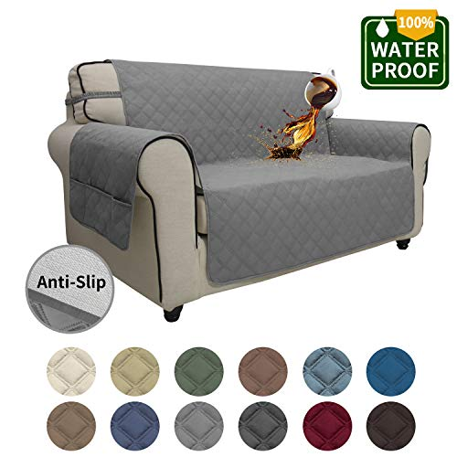 Easy-Going Sofa Slipcover Loveseat Cover Waterproof Couch Cover Furniture Protector Sofa Cover Pets Covers Seamless Whole Piece Non-Slip Fabric Pets Kids Children Dog Cat (Loveseat, Gray)