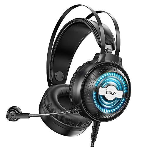 HOCO. Auriculares Gaming Jack 3,5 m con micrófono (L=2,4 m), color negro