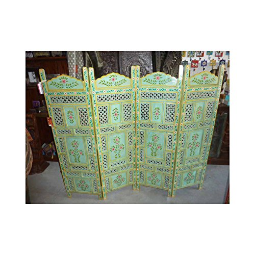 int. d'ailleurs - Biombo de Madera India con Motivos de Flores Azules - PAR021