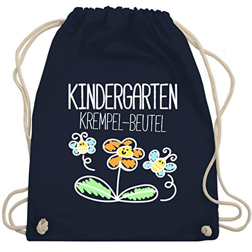 Shirtracer Turnbeutel - Kindergarten Krempel-Beutel - Unisize - Navy Blau - lila beutel - WM110 - Turnbeutel und Stoffbeutel aus Baumwolle
