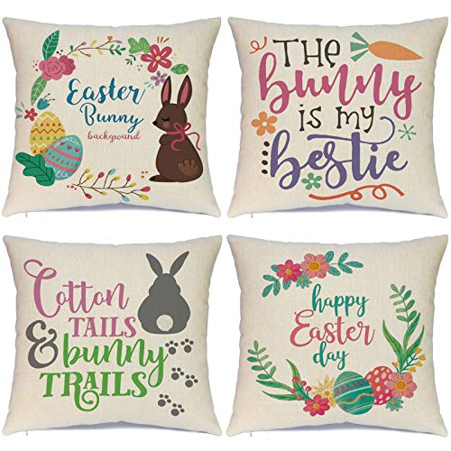 Hlonon Easter Pillow Covers 18x18 Set of 4 Easter Pillow Case Rabbit Bunnies with Eggs Canvas, Cotton Linen Throw Pillows Covers for Couch Sofa Patio