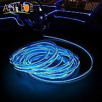 車のパネルネオンランプ,1倍の車のドアストリップLEDの雰囲気の車のラインランプの内部装飾的なライトダッシュボード読みロープ線の可撓性ランプ12V青い線 (Color : 5M Cigarette Drive, Emitting Color : Crystal Blue)