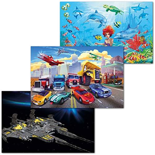 GREAT ART 3er Set XXL Poster Kinder Motive – Children's Movies – Battleship Weltraum Autorennen Meerjungfrau Film Bild Dekor Inneneinrichtung Wandbild Plakat je 140 x 100 cm