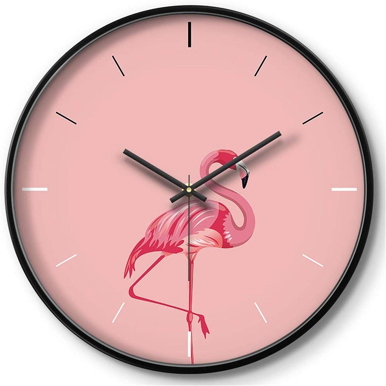 HomeClock Simple Moderno pequeo Reloj de Parojo de Salón Reloj Silencio Cactus verde Flamenco