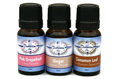 Destination Oils Essential Oil for Weight Loss Gift Set - Pink Grapefruit, Cinnamon, and Ginger. 100% Pure Undiluted Therapeutic Grade