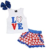 Baby Girls Love Baseball Print Tops T-Shirt+Tassel Shorts Headband Outfits Set Size 6-12 Months/Tag80 (White)