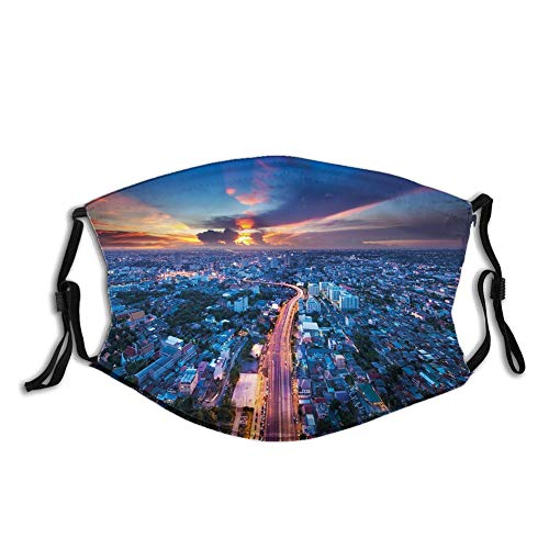 Usicapwear Fashion 3D Face Protect Printed Gesichts-Mundschutz,Bangkok Skyline at Sunset Evening Thailand Cityscape Metropolis Architectural Photo