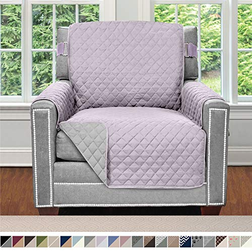 Sofa Shield Original Patent Pending Reversible Chair Protector for Seat Width up to 23 Inch, Furniture Slipcover, 2 Inch Strap, Chairs Slip Cover Throw for Pets, Kids, Cats, Armchair, Purple Lt Gray