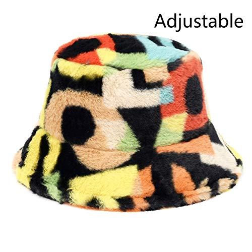 Invierno Vaca Estampado de Leopardo Piel sintética Felpa Sombreros de Cubo para Mujer Sombrero cálido al Aire Libre Gorra de Pescador de Terciopelo Suave Dama Moda Panamá - Números de Arco Iris