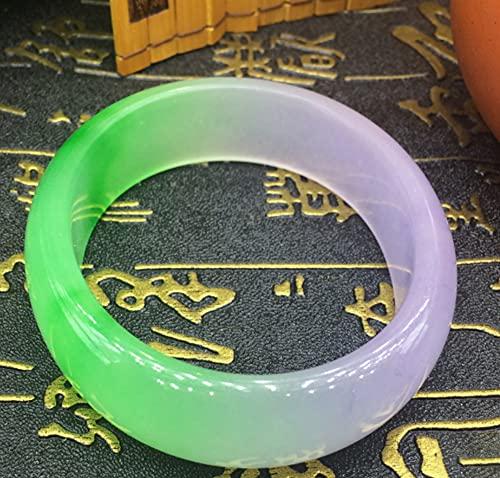 AJU Pulsera de Jade Real, Pulsera de Jade Violeta de Color Jade, Pulsera de Jade de cuarcita Natural, la Mejor joyería de Moda, para el Favorito 56-62 mm