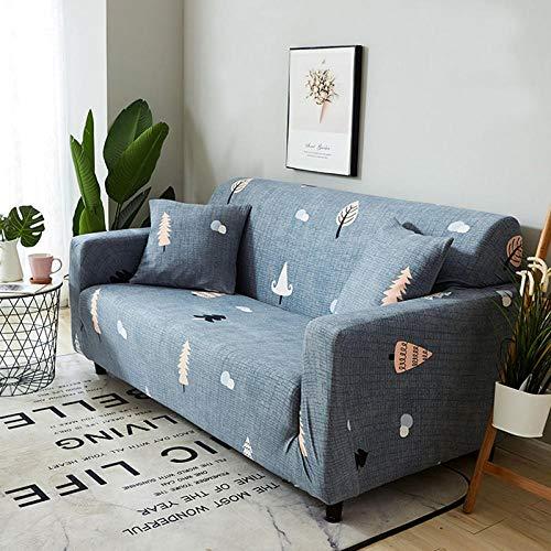 NLADTWLSD Funda de sofá de Alta Elasticidad, impresión Fundas para Sofa Antideslizante Cubierta para Sofa Protector para Sofás Lavable para el Salón (2 Asiento,Azul grisáceo)