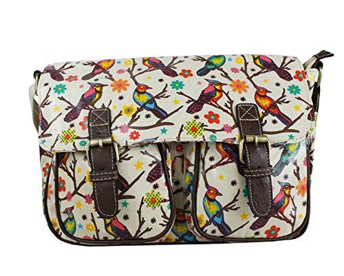 Ladies Birds/Owl/Animals Print Medium Waterproof Satchel Girl School Shoulder Messenger Handbag (Bird Pearl)