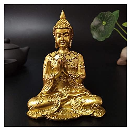 JHYS Estatua de Buda de Tailandia Dorada, decoración del jardín del hogar, Escultura de Buda de meditación, figuritas de Fengshui hindú, Adornos artesanías
