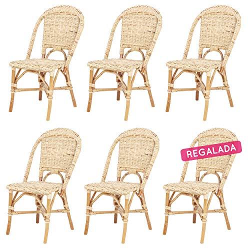 Lote de 6 sillas de Ratan Josy