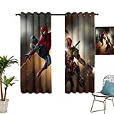 Cortinas opacas para sala de estar S-piderman y d-eadpool Battle Graphic Art Sombreado tela para dormitorio y sala de estar 152 x 243 cm