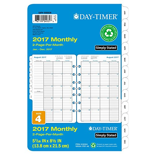 Day-Timer Monthly Planner Calendar Refill 2017, Two Page Per Month, Loose Leaf, 5-7/16 x 8-1/2', Desk Size, Simply Stated (12024)