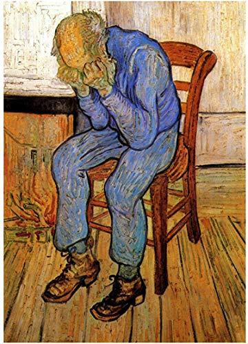 HHLSS Obra de Arte Pintura 70x90cm sin Marco Van Gogh: Viejo en el Dolor en el umbral de la eternidad Pinturas al óleo Arte de la Pared para la decoración del Dormitorio de la Sala de Estar