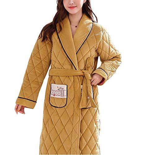 FHISD Camisón Popular para Mujer, Albornoz Amarillo Festivo Largo, Pijama para Mujer, Terciopelo de Terciopelo Coral, Regalos cálidos de Invierno