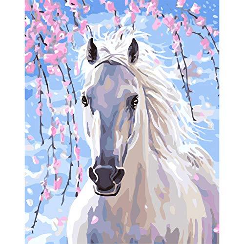 DIY-Malerei nach Zahlen Tier galoppierendes Pferd Handgemalte ?lfarbe Leinwand Home Decoration Wandkunst Bild Digitales Gem?lde 40x50cm
