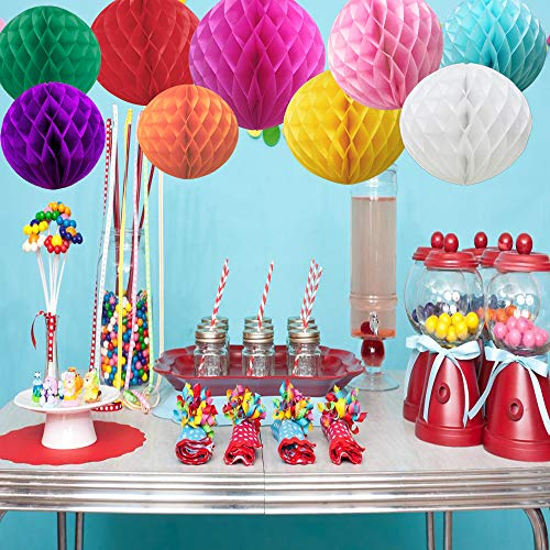 Time to Sparkle 9 Pack Mixed Honeycomb Balls Table Centrepiece Garland Tissue Paper Wedding Party Decoration (Colorful)