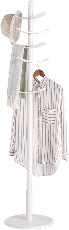 Angel's Home Coat Rack Floor Wooden Clothes Rack Bedroom Multi-Hook Hanger redatable Coat Storage Rack 10 Hook (color   White)