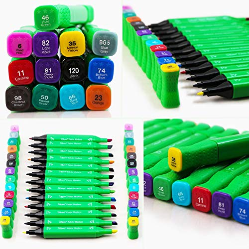 Fabric Markers Permanent Marker Pens for Fabrics T Shirts Clothes - Big Set Dual 26 Tip of 13 Ink Colors Safe Crafts For All Art Kids Textile Paint - Bulk Fine Marking Non Toxic Pen Pack Prime Gift