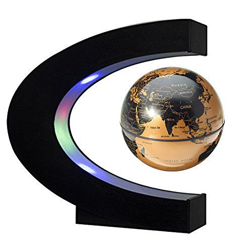 EASY EAGLE Mappamondo Magnetico 3 Pollici, Globo Fluttuante Levitazione Elettronico con RGB Luce LED per Decorazione della Casa Ufficio Regali d'Affari Studente Educazione - Dorato