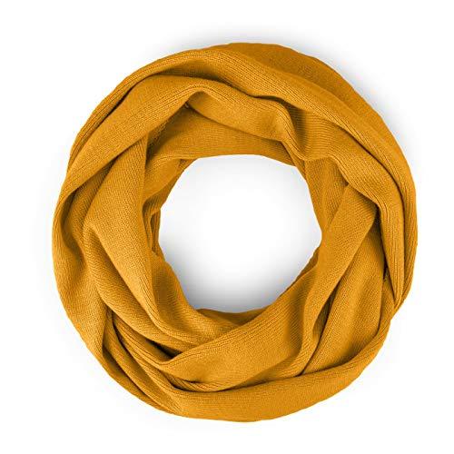 Neverless® Damen Loopschal Strickschal Schlauchschal Schal Feinstrick einfarbig senfgelb