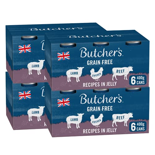BUTCHER'S Wet Dog Food Tin Cans Grain Free Recipes in Jelly 9.6kg (24 x 400g)