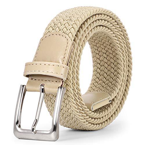 SUOSDEY Unisex Stretchgürtel Elastischer Flechtgürtel Stoffgürtel Geflochtener Taillen Gürtel für Damen und Herren,Beige,100cm