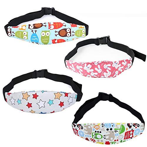 Soporte de Cabeza para Niños, 4 Piezas Bebés Soporte de La Cabeza para Cinturón, Coche de Bebé Cinturón Protector Cochecito, Bebé Almohada Protección Cabeza, Protección de Cabeza Posicionador