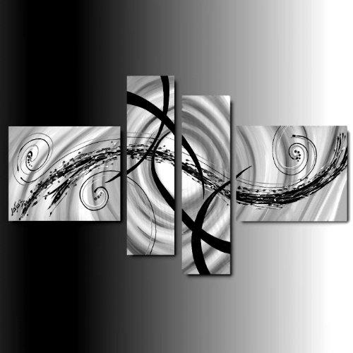 ART MMB 'Romantica Bianco & Nero - 4 Quadri Moderni Astratto Color Bianco Nero Grigio Dipinto A Mano su Tela Gia' INTELAIATO