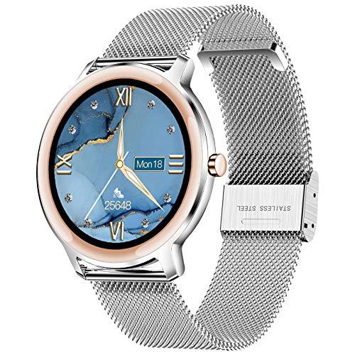 LIGE Smartwatch Orologio Fitness Donna, Impermeabili IP67 con Touch Screen Completo da 1,1 Pollici, Monitor del Sonno, Cardiofrequenzimetro, Orologio Donna con Bracciale a Rete per Android e iOS