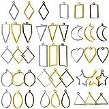 WILLBOND 42 Stücke Rahmen Anhänger Lünette Charms Anhänger Open Zurück Lünette Anhänger Geometrische Hohlgepresste Blume Rahmen Anhänger DIY Handwerk für Harz Ohrringe Halskette Armband