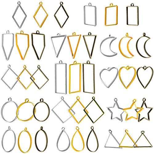 42 Pieces Frame Pendants Bezel Charms Pendants Open Back Bezel Pendants Geometric Hollow Pressed Flower Frame Pendant DIY Crafts for Resin Earrings Necklace Bracelet