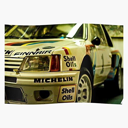 Amelius Velvia Car Coventry Rally Peugeot Fuji 205, Beeindruckende Poster für die Raumdekoration, gedruckt mit modernster Technologie auf seidenmattem Papierhintergrund
