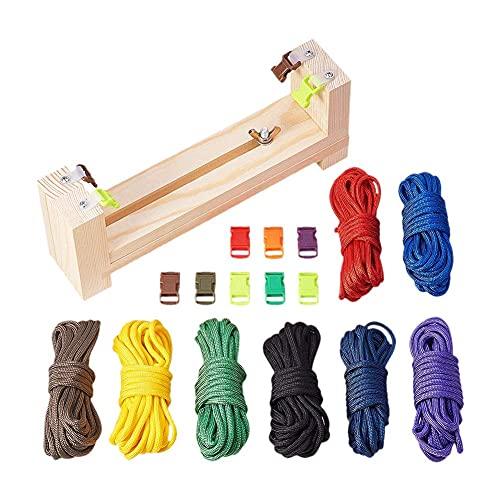 DealMux Cuerda de paracaídas, cinturón de cuerda de paracaídas - 8 cuerdas de paracaídas y 8 hebillas de liberación rápida, paracord Web Band Kit de herramientas de bricolaje accesorio pulsera fabric