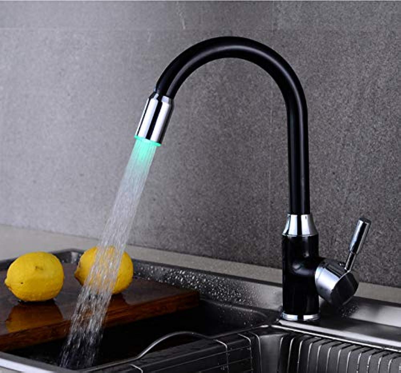 ZHAOSHOP Wasserhahn LED Küchenarmatur heie und kalte Spüle Spüle Spüle Kupfer schwarz drehbar nach Hause Licht Spüle Wasserhahn