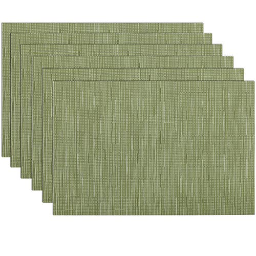 SHACOS Placemats Set of 6 Woven Vinyl Place Mats for Dining Table Wipe Clean Non Slip Table Mats (6, Olive Green)